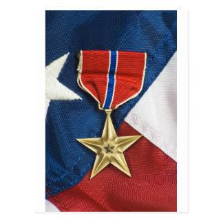 Étoile en bronze sur le drapeau américain cartes postales