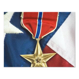 Étoile en bronze sur le drapeau américain carton d'invitation 10,79 cm x 13,97 cm
