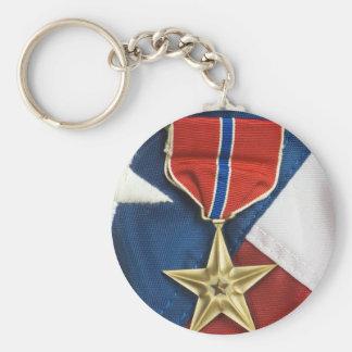 Étoile en bronze sur le drapeau américain porte-clef