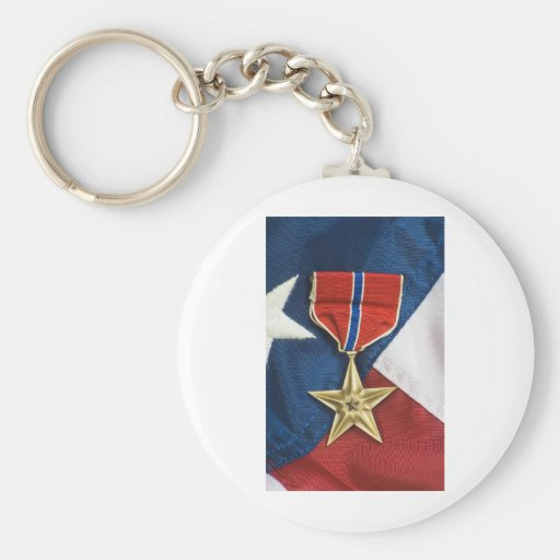 Étoile en bronze sur le drapeau américain porte-clé