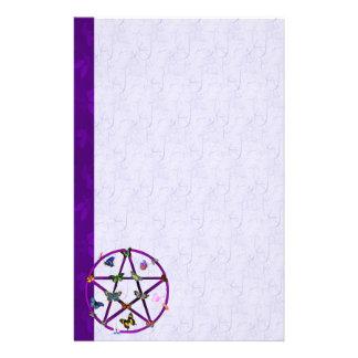Étoile et papillons de Wiccan Papier À Lettre