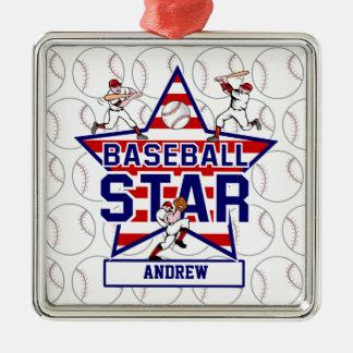 Étoile et rayures de base-ball personnalisées ornement carré argenté