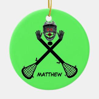 Étoile faite sur commande de lacrosse ornement rond en céramique