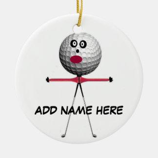 Étoile personnalisée de golf ornement rond en céramique