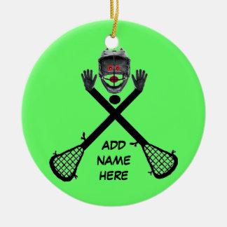 Étoile personnalisée de lacrosse ornement rond en céramique