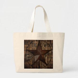 Étoile solitaire en bois du Texas de pays Sac En Toile Jumbo