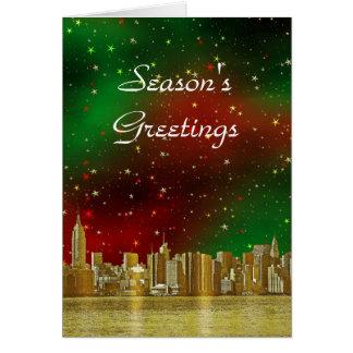 Étoilé vert rouge de Noël de l'horizon #1 de l'or Carte De Vœux