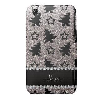 Étoiles argentées nommées d'arbres de Noël de Coque Case-Mate iPhone 3