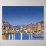 Étoiles au-dessus d'affiche de Venise