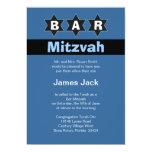 Étoiles bleues et noires modernes de Mitzvah de Invitation