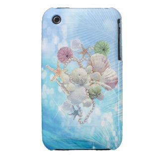 Étoiles de mer, coquilles et perles mignonnes d'ét coques iPhone 3