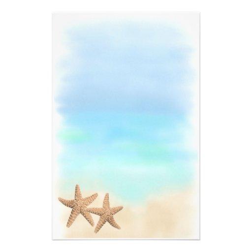 Étoiles de mer sur la papeterie de plage papier à lettre