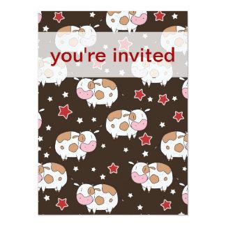 Étoiles et motif mignon de vaches carton d'invitation  13,97 cm x 19,05 cm