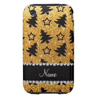 Étoiles jaunes nommées d'arbres de Noël de Étuis Tough iPhone 3