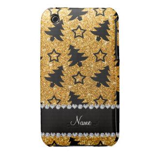 Étoiles jaunes nommées d'arbres de Noël de Coque iPhone 3
