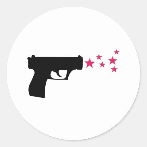 étoiles noires de pistolet d'étoile d'arme à feu adhésif rond