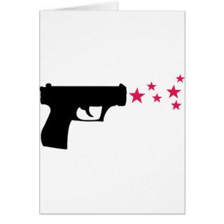 étoiles noires de pistolet d'étoile d'arme à feu carte de vœux