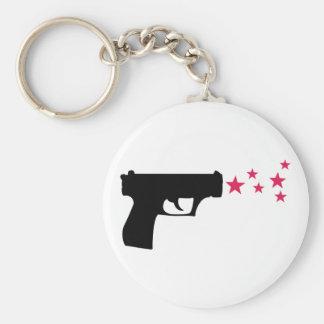 étoiles noires de pistolet d'étoile d'arme à feu porte-clé rond
