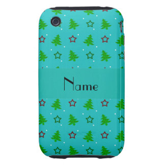 Étoiles nommées personnalisées de Noël de turquois Coques Tough iPhone 3