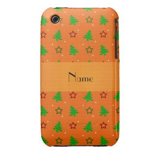 Étoiles oranges nommées personnalisées de Noël Coques Case-Mate iPhone 3