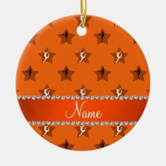 Étoiles oranges nommées personnalisées de ornement rond en céramique