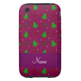 Étoiles pourpres personnalisées de Noël de prune Coques Tough iPhone 3