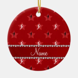 Étoiles rouges nommées personnalisées de ornement rond en céramique
