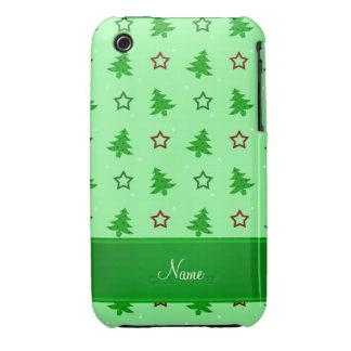 Étoiles vert clair nommées personnalisées de Noël Coques iPhone 3 Case-Mate