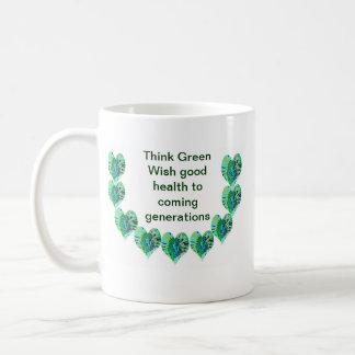 ÉTOILES VERTES de vert des coeurs n Tasses À Café