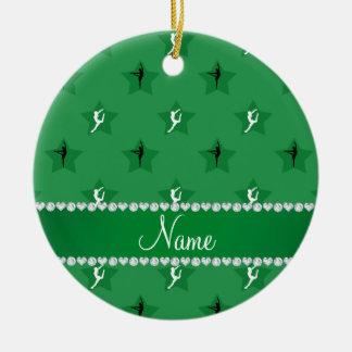 Étoiles vertes nommées personnalisées de ornement rond en céramique