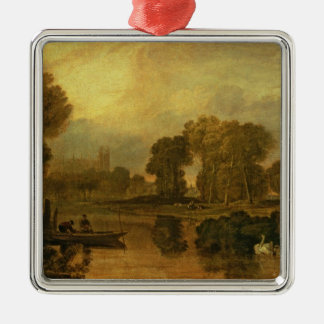 Eton College from the River, or The Thames at Silver-Colored Square Ornament