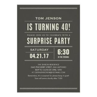 Étonnez les quarantième invitations d anniversaire