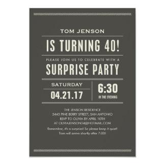 Étonnez les quarantième invitations d'anniversaire