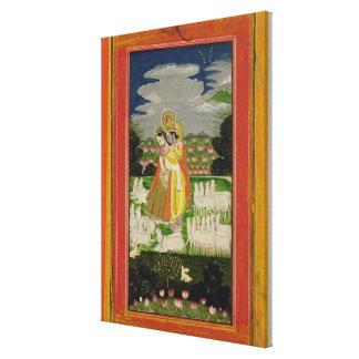 Étreinte de Radha et de Krishna dans un landscap i Toile Tendue