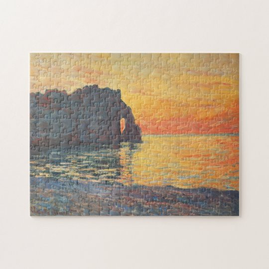 Etretat Cliff d'Aval Sunset Monet Fine Art Jigsaw Puzzle