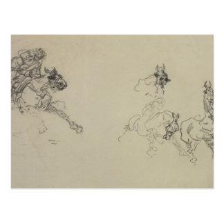 Etude de Chevaux (recto) (pencil on paper) Postcard