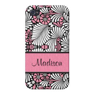 Étui iPhone 4 Girly dans la coutume rose et blanche