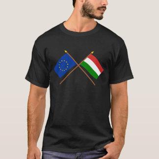 EU and Hungary Crossed Flags T-Shirt