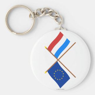 EU and Luxembourg Crossed Flags Basic Round Button Keychain
