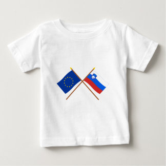 EU and Slovenia Crossed Flags Baby T-Shirt