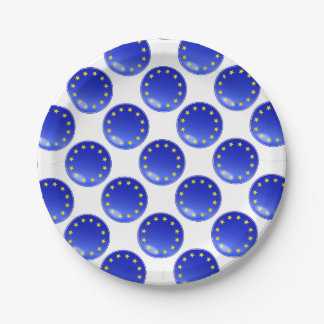EU Button Paper Plate
