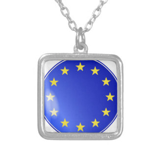 EU Button Silver Plated Necklace