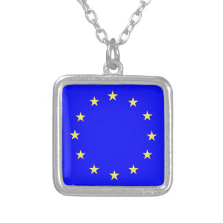 EU European flag Silver Plated Necklace