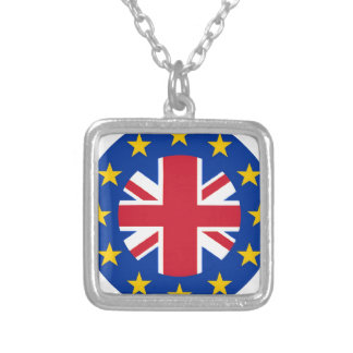 EU - European Union Flag - Union Jack Silver Plated Necklace