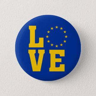 EU Flag, European Union, LOVE 2 Inch Round Button