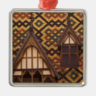 EU, France, Burgundy, Cote d'Or, Beaune. Tiled Silver-Colored Square Ornament