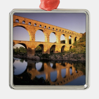 EU, France, Provence, Gard, Pont du Gard. Silver-Colored Square Ornament