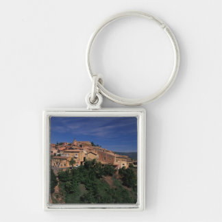 EU, France, Provence, Vaucluse, Roussillon. 4 Silver-Colored Square Keychain
