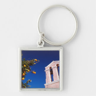 EU, Greece. Greek Orthodox church Silver-Colored Square Keychain