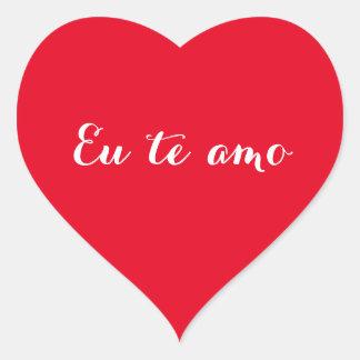 Eu te amo I Love You in Brazilian Heart Sticker